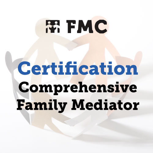 A photograph of cut out paper people with the words Comprehensive Family Mediator Certification superimposed over it.