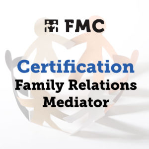 A photograph of cut-out paper people with the words Certification, Family Relations Mediator superimposed over it.