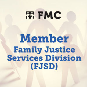 Photograph of cutout people with Member Family Justice Services Division (FJSD) superimposed on it